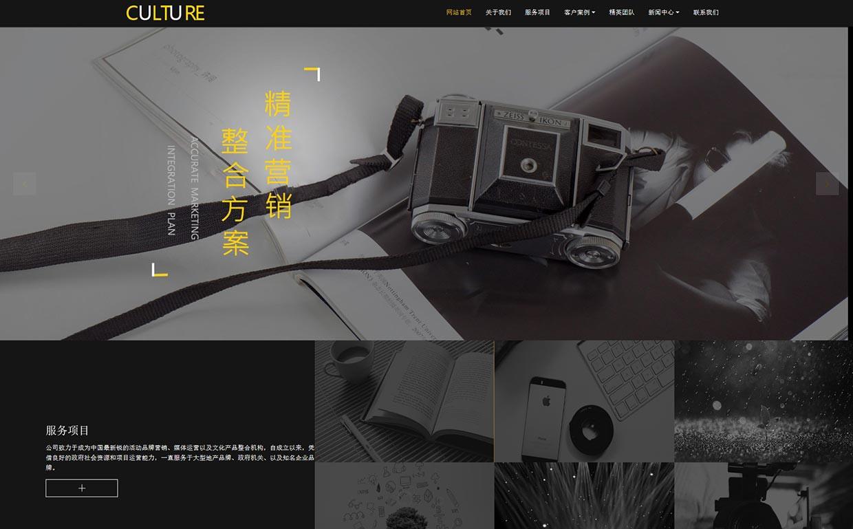 文化传媒公司网站模板-文化传媒公司网页模板|响应式模板|网站制作|网站建站